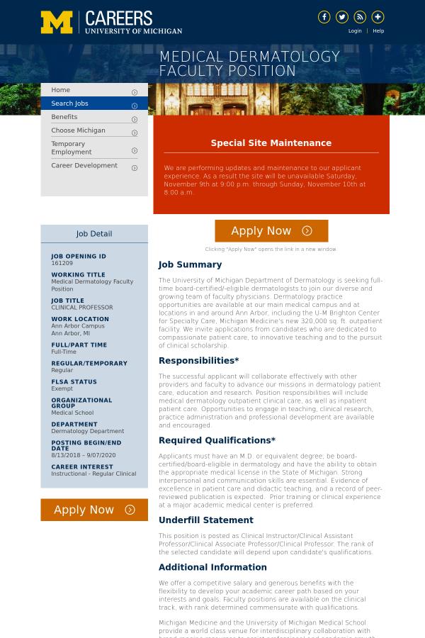 Medical Dermatology Faculty job at University of Michigan in