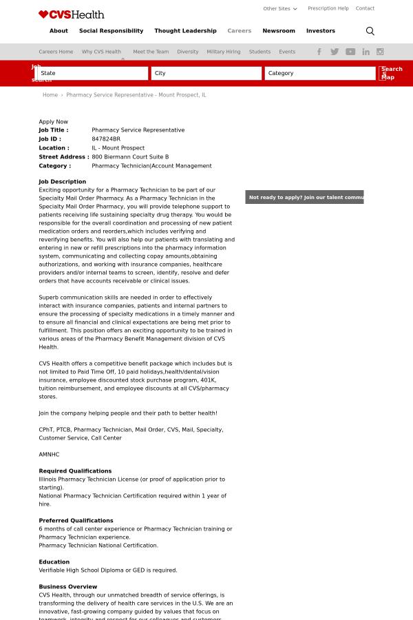Pharmacy Service Representative Job At Cvs Health In Mount Prospect