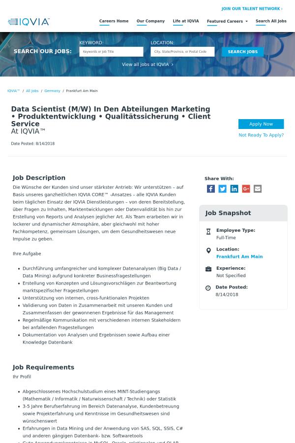 Data Scientist in Den Abteilungen Marketing • Produktentwicklung ...