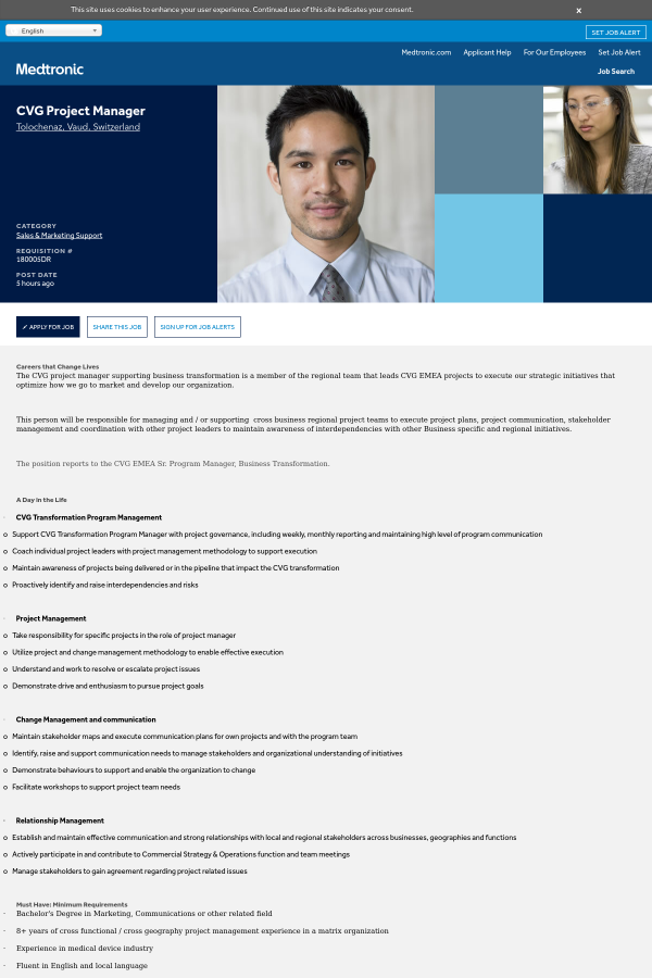 cvg project manager job at medtronic in morges switzerland