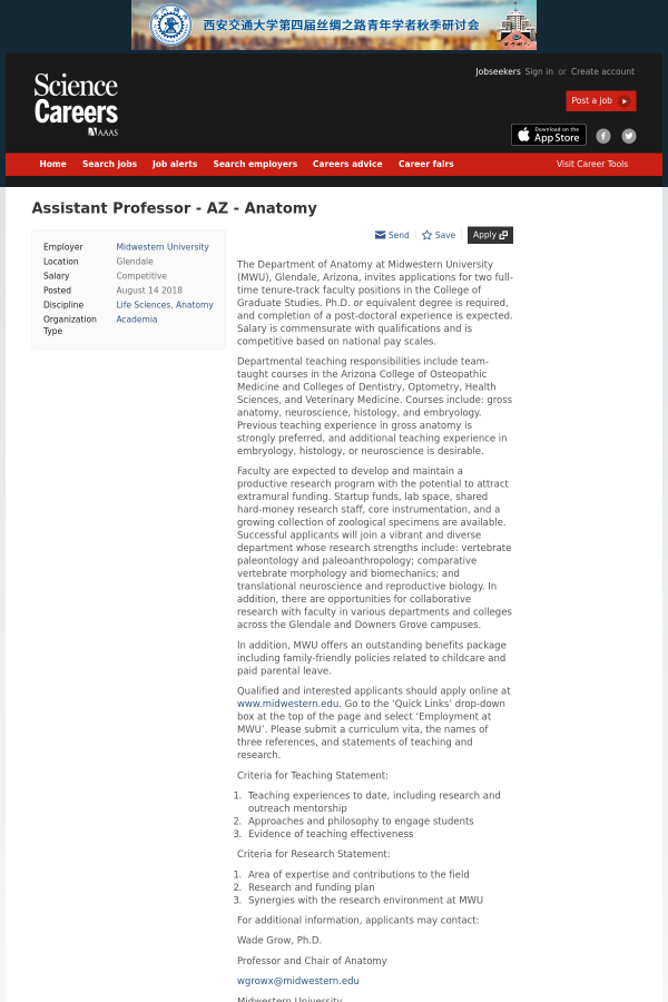 Assistant Professor - AZ - Anatomy job at Midwestern University in ...