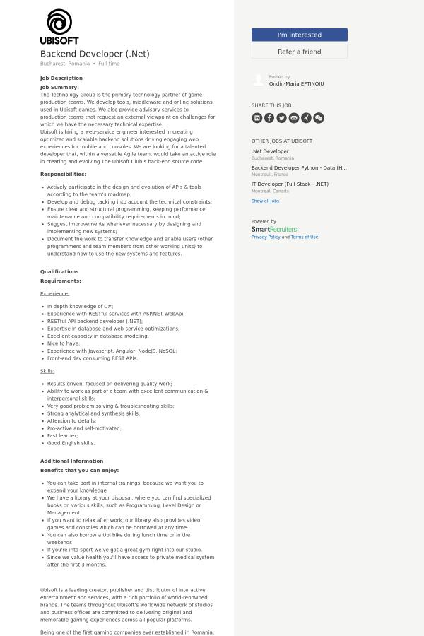 Backend Developer ( NET) job at Ubisoft in Bucharest