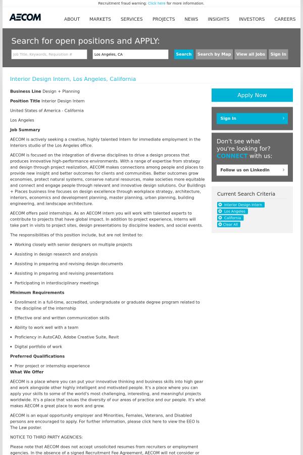 interior design intern job at aecom technology corporation in los