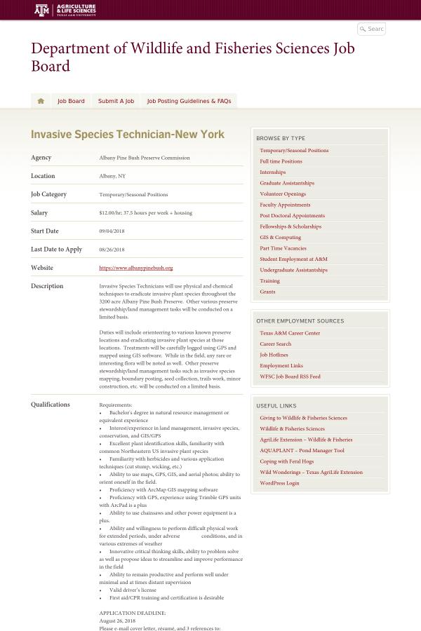 Invasive Species Technician New York Job At Albany Pine Bush