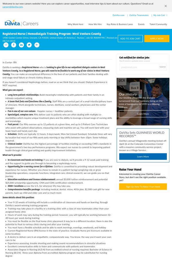 Registered Nurse Hemodialysis Training Program Job At Davita