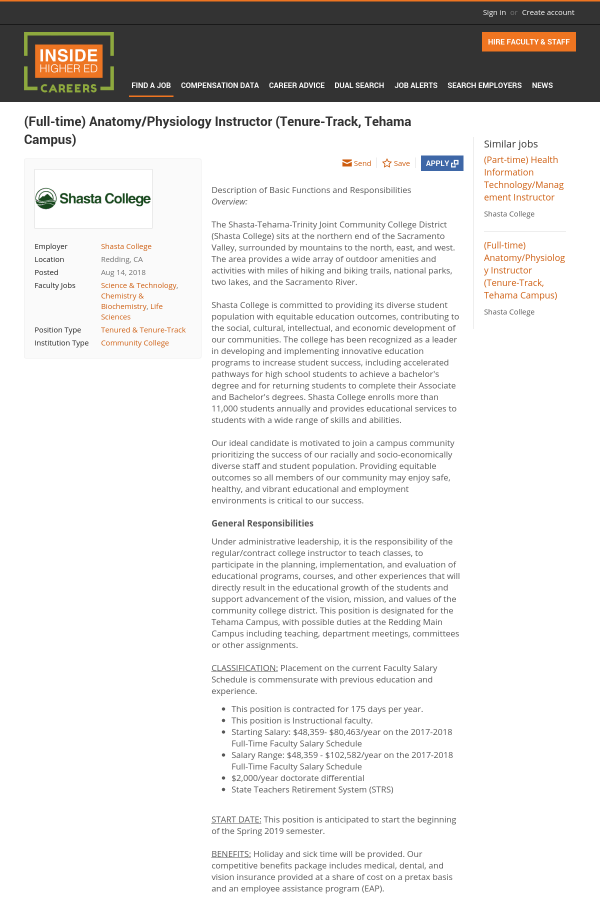 Anatomy / Physiology Instructor job at Shasta College in Redding, CA ...