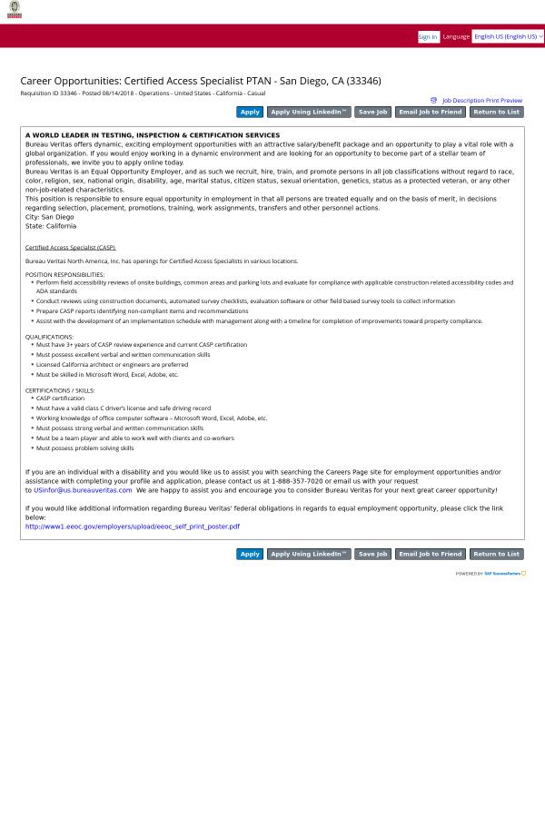 Certified Access Specialist Ptan San Diego Ca Job At Bureau