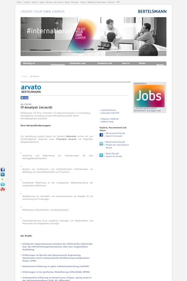 IT - Analyst (m/w / D) job at Bertelsmann in Gütersloh, Germany ...