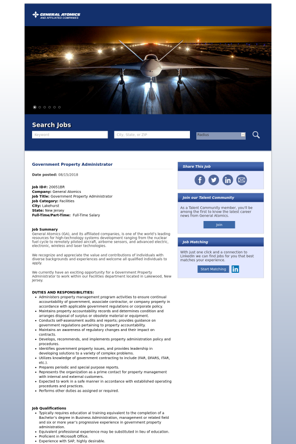 Government Property Administrator job at General Atomics in ...