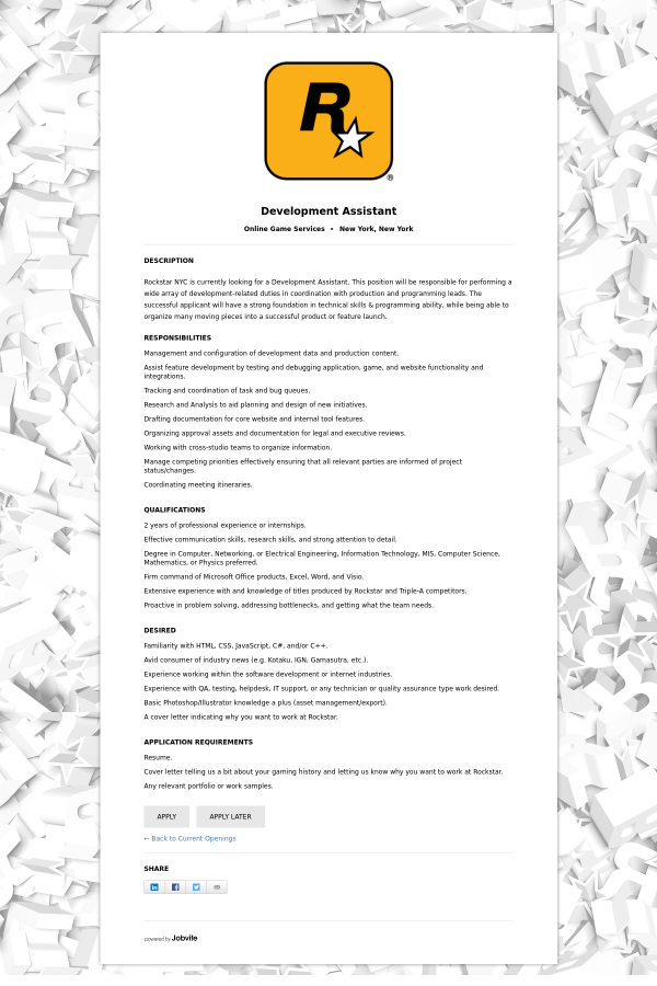 Development Assistant job at Rockstar Games in New York City, NY ...