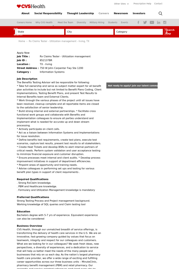 rx claims tester utilization management job at cvs health in