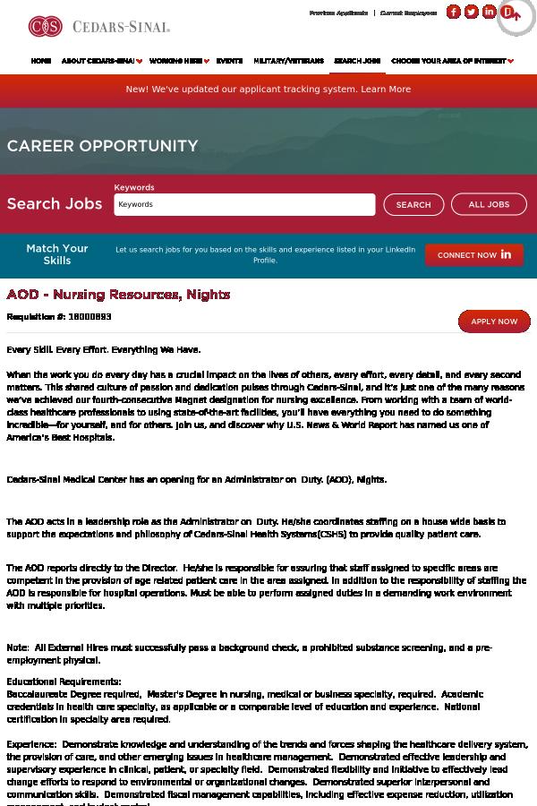 AOD - Nursing Resources, Nights job at Cedars Sinai in Los Angeles ...