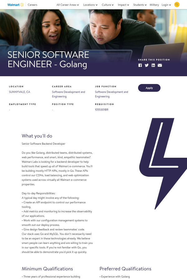 senior software engineer golang job at walmart in sunnyvale ca