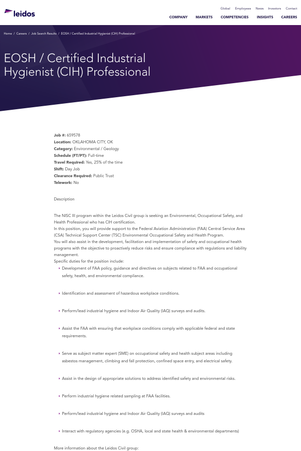 EOSH / Certified Industrial Hygienist (CIH) Professional job at ...