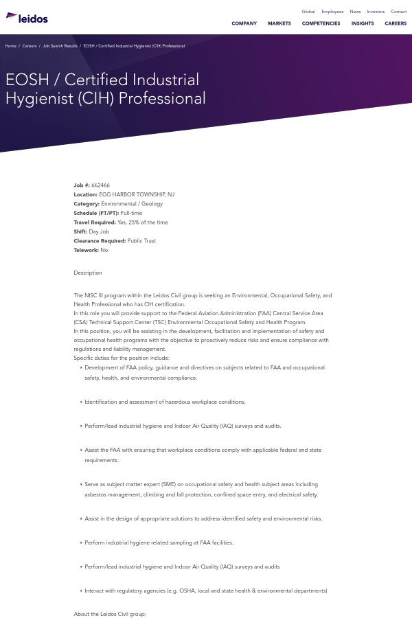 Eosh Certified Industrial Hygienist Cih Professional Job At