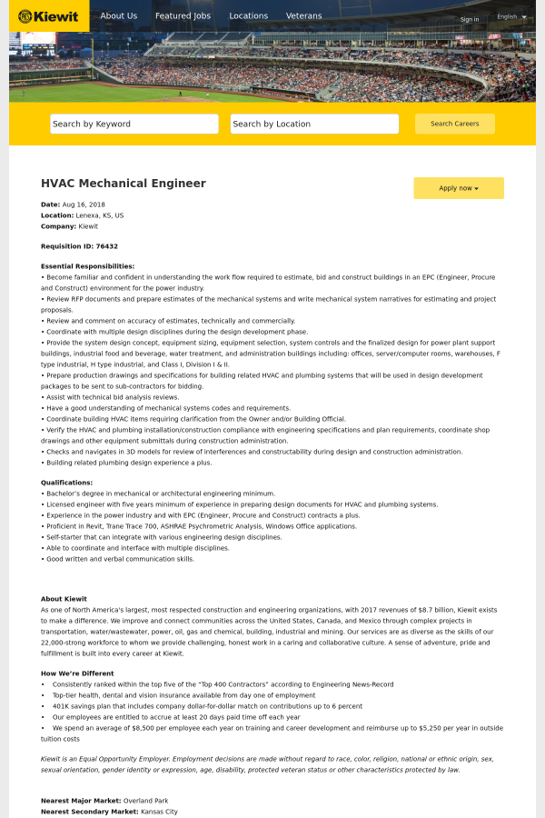 HVAC Mechanical Engineer job at Kiewit in Lenexa, KS - 13973054 ...