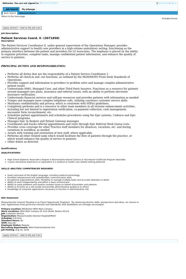 Patient Services Coordinator  II job at Massachusetts General