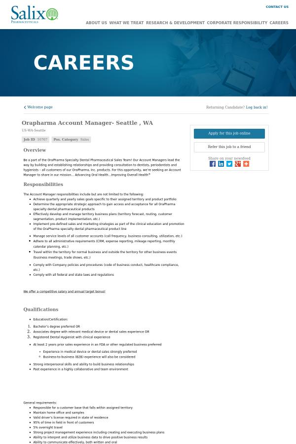 orapharma account manager - seattle, wa job at salix pharmaceuticals ...