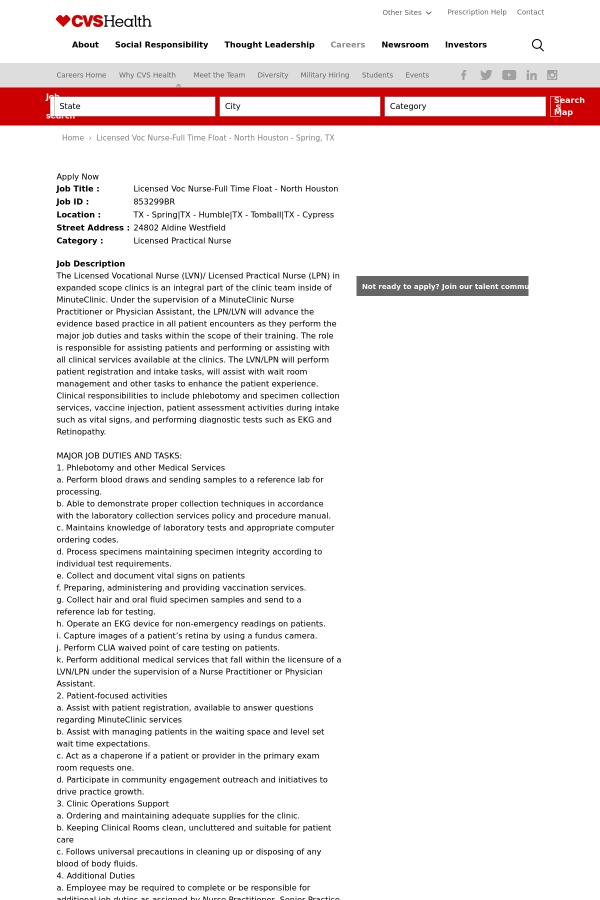 licensed voc nurse float north houston job at cvs health in