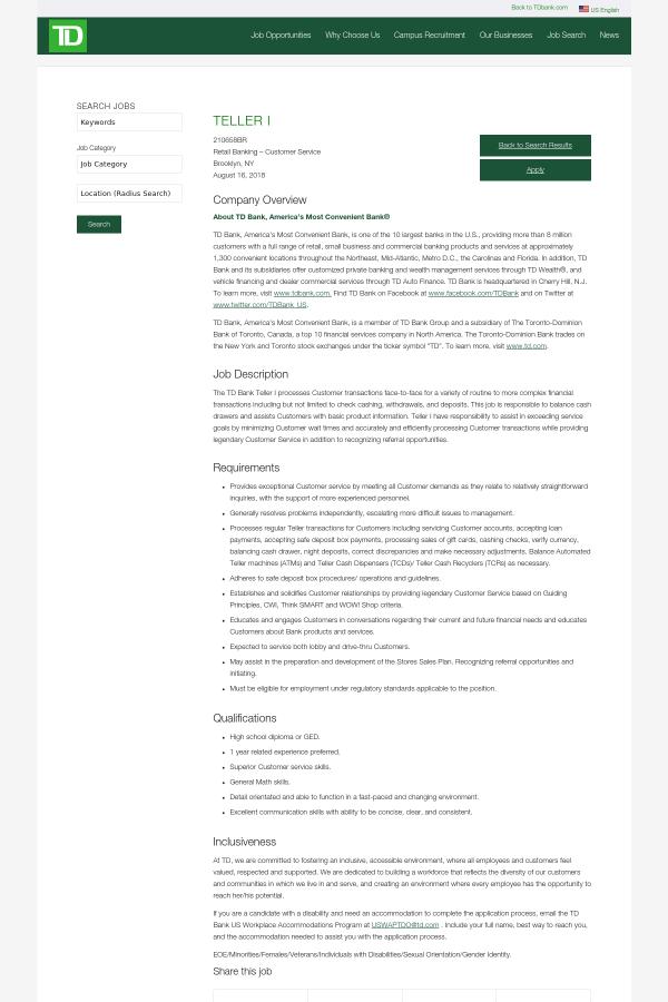 Teller I Job At Td Bank In Brooklyn Ny 13982281 Tapwage Job Search