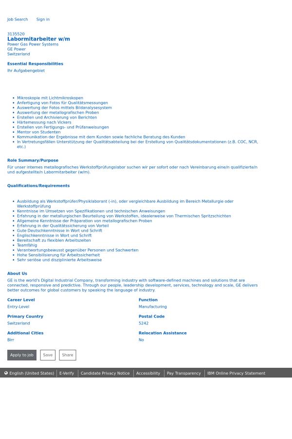 Labormitarbeiter w/m job at General Electric in Switzerland ...