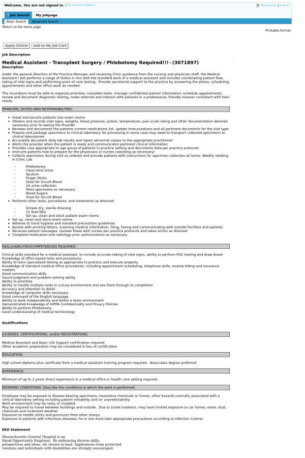Medical Istant Certificate   Medical Assistant Transplant Surgery Phlebotomy Required Job