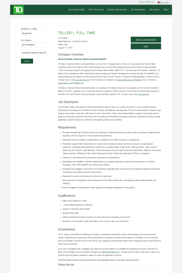 Teller I Job At Td Bank In Kittery Me 13996993 Tapwage Job Search