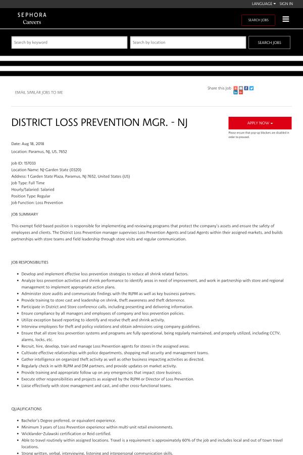 District Loss Prevention Manager - NJ job at Sephora in Paramus, NJ ...