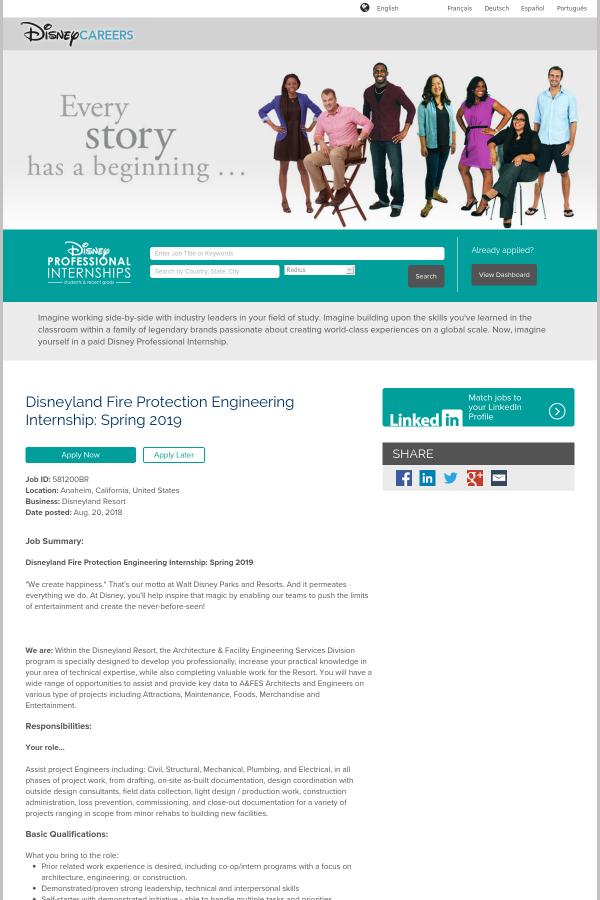 Disneyland Fire Protection Engineering Internship: Spring 2019 job ...