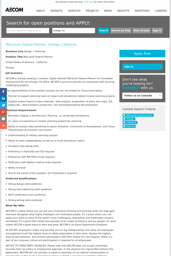 mid level federal planner job at aecom technology corporation in