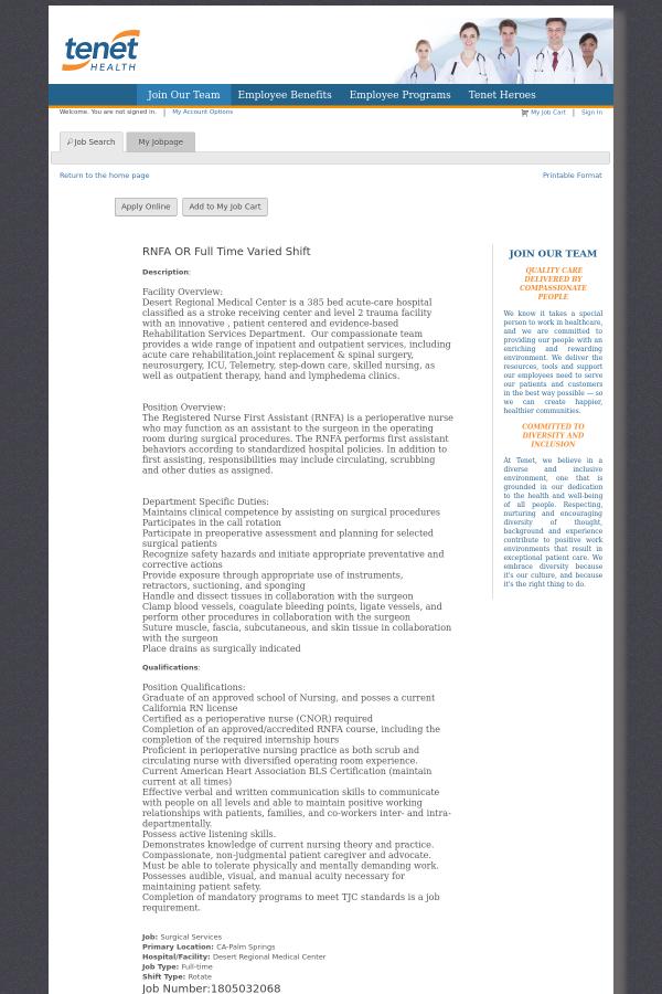 Rnfa Or Varied Job At Tenet Healthcare In Palm Springs Ca