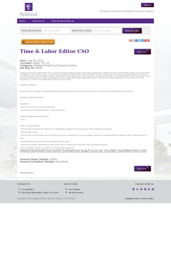 Time Labor Editor Cso Job At Parkland Health Hospital System In