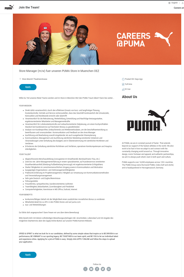 Store Manager (m/w) Fuer Unseren Puma Store in Muenchen OEZ job at ...