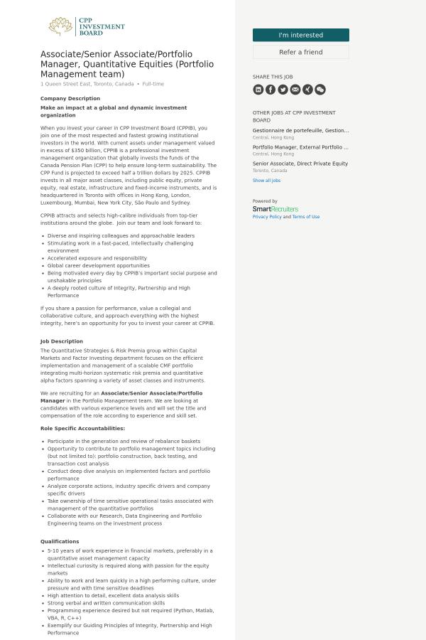Associate / Senior Associate / Portfolio Manager, Quantitative ...
