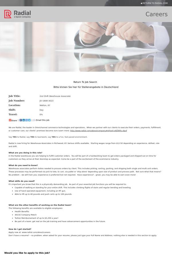 2nd Shift Warehouse Associate Job At Radial In Walton Ky 14037936