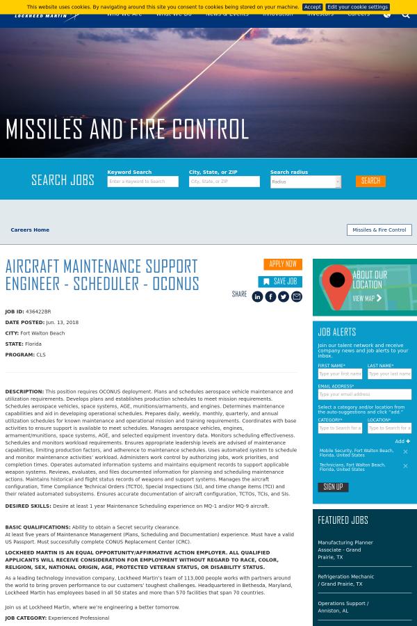 Aircraft Maintenance Support Engineer - Scheduler - OCONUS