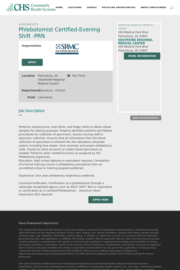 Phlebotomist Certified Evening Shift Prn Job At Community Health