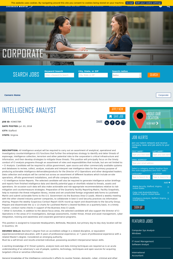 Intelligence Analyst Job At Lockheed Martin In Stafford Va