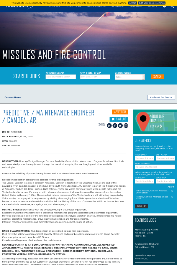 Predictive / Maintenance Engineer / Camden, AR job at