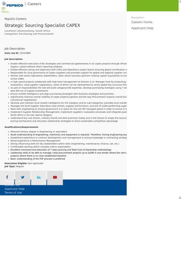 strategic sourcing specialist capex job at pepsico in johannesburg