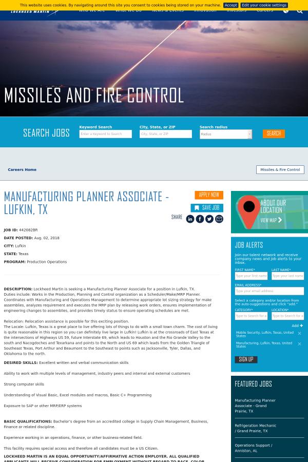 Manufacturing Planner Associate - Lufkin, TX job at Lockheed Martin