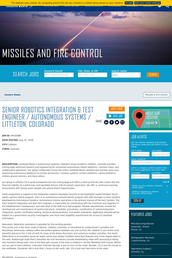 Senior Robotics Integration & Test Engineer / Autonomous