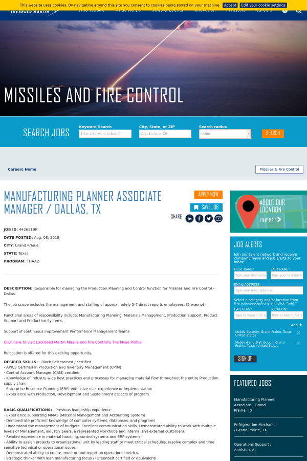 Manufacturing Planner Associate Manager / Dallas, TX job at