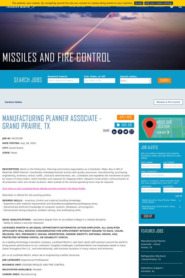 Manufacturing Planner Associate Grand Prairie Tx Job At Lockheed