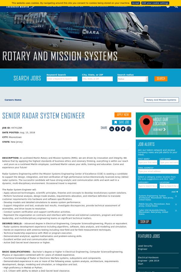 Senior Radar System Engineer job at Lockheed Martin in Moorestown