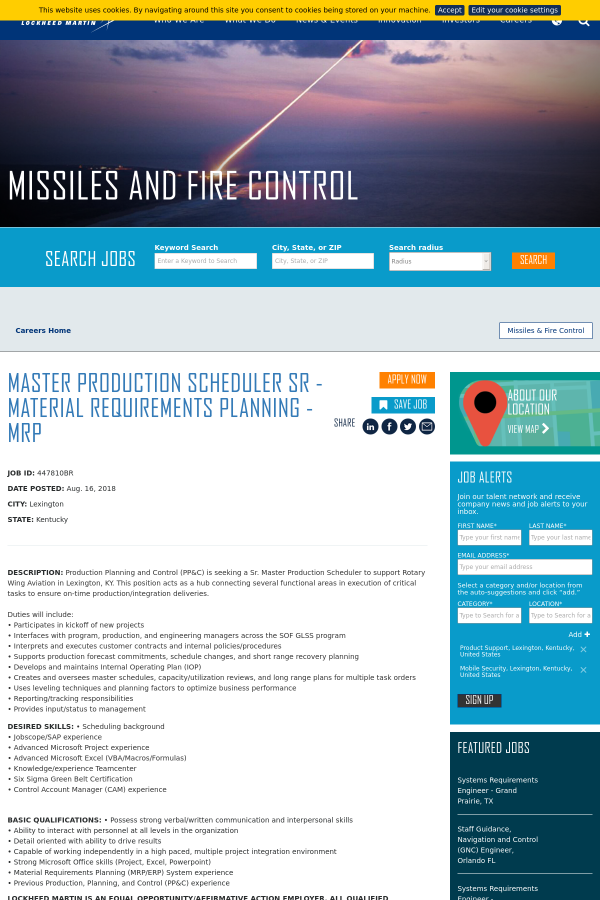 Master Production Scheduler Senior - Material Requirements Planning