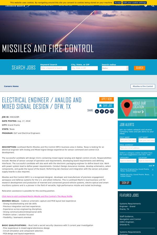 Electrical Engineer Analog And Mixed Signal Design Dfw Tx Job At Lockheed Martin In Grand Prairie Tx 14053379 Tapwage Job Search