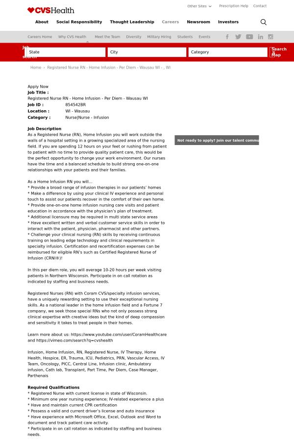 registered nurse registered nurse home infusion wausau wi job at
