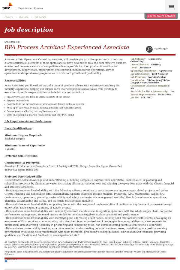 Rpa Process Architect Experienced Associate Job At
