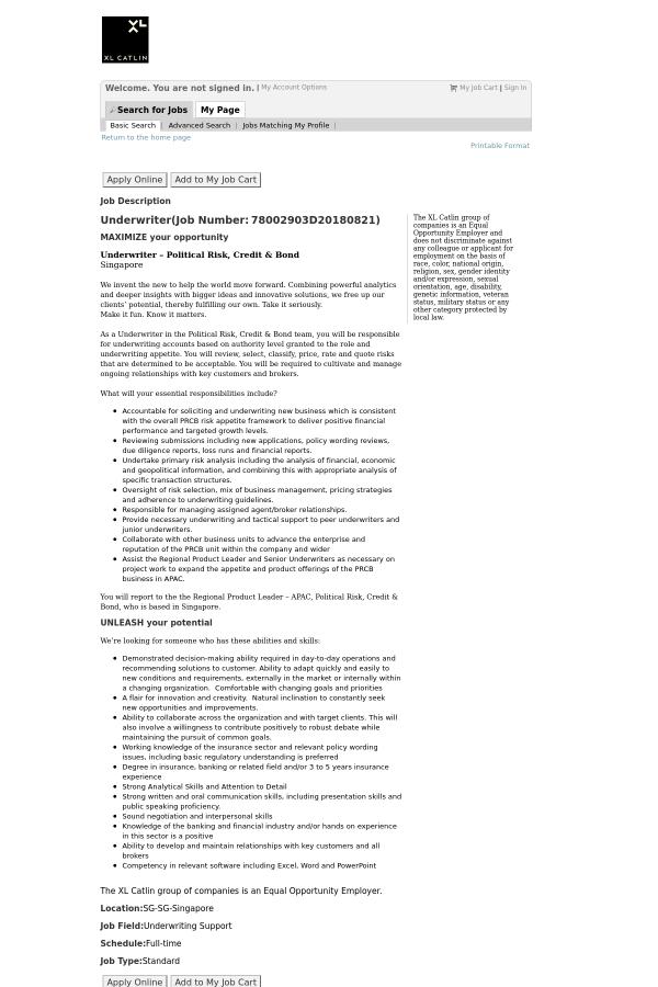 Underwriter job at XL Group in Singapore - 14074899 | Tapwage Job Search